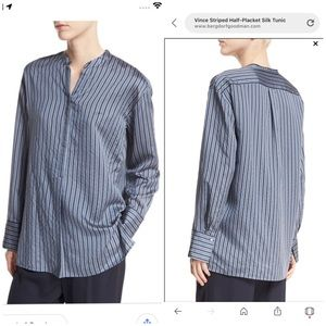 Vince Striped Half-Placket Silk Tunic Top